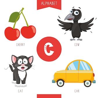 Alfabeto lettera c e immagini