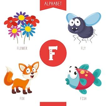 Alfabeto lettera f e immagini