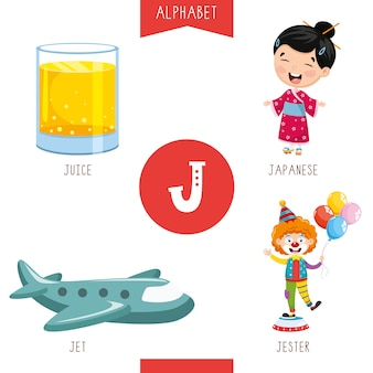 Alfabeto lettera j e immagini