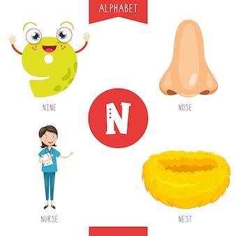 Alfabeto lettera n e immagini