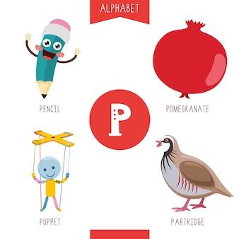 Alfabeto lettera p e immagini