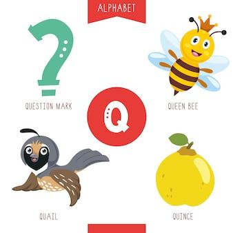 Alfabeto lettera q e immagini