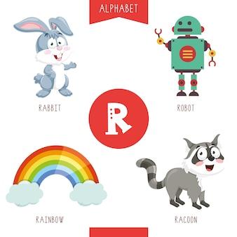 Alfabeto lettera r e immagini
