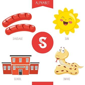 Alfabeto lettera s e immagini