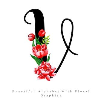 Alfabeto lettera v acquerello sfondo floreale