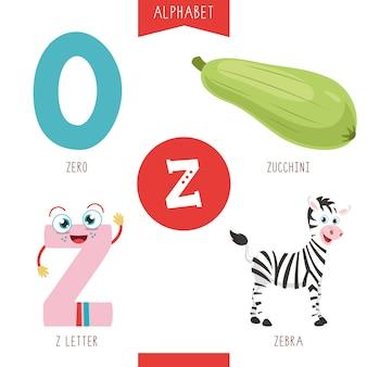 Alfabeto lettera z e immagini