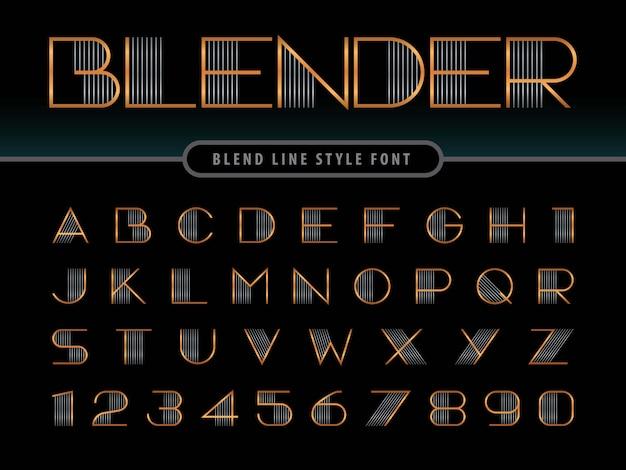Alfabeto lineare moderno lettere, linee unisci caratteri arrotondati stilizzati
