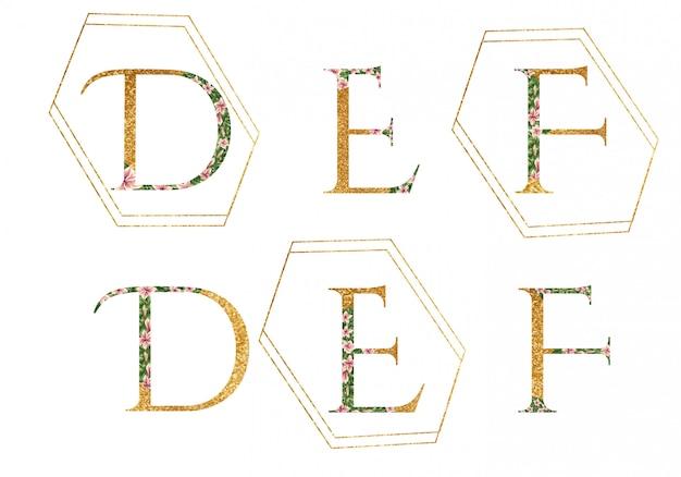 Alfabeto logo d, e, f