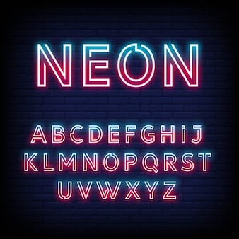 Alfabeto luce al neon