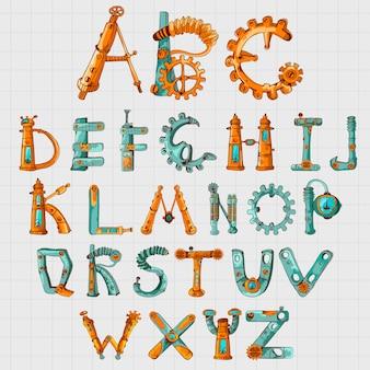 Alfabeto meccanico colorato