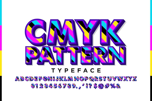 Alfabeto moderno con i colori cmyk
