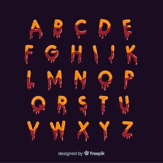 Alfabeto moderno con stile inquietante