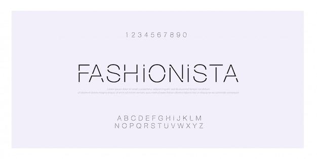 Alfabeto moderno creativo di carattere minimal moda