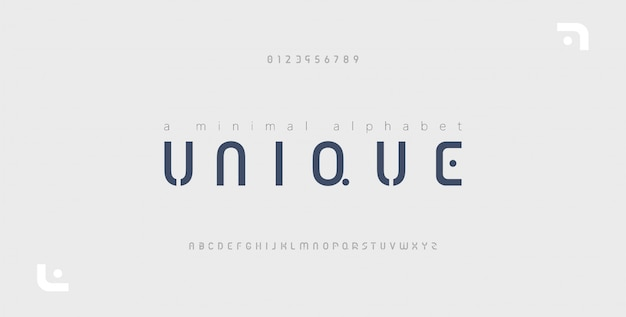 Alfabeto moderno creativo minimal font