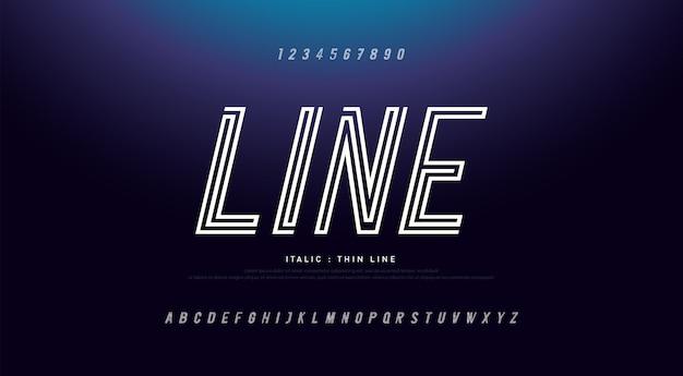 Alfabeto moderno linea sottile caratteri e numeri in corsivo