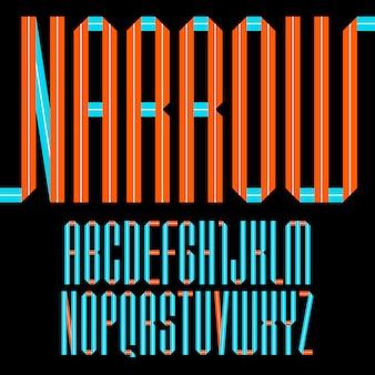 Alfabeto moderno piegato di nastro di carta carattere stretto
