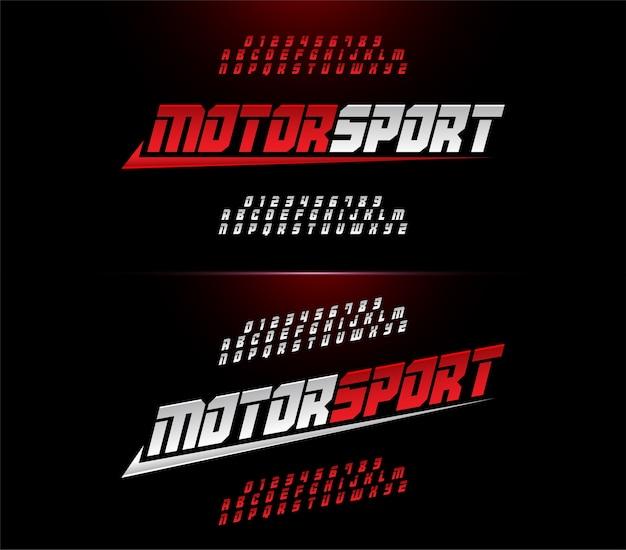 Alfabeto moderno sport motoristici e numeri font.