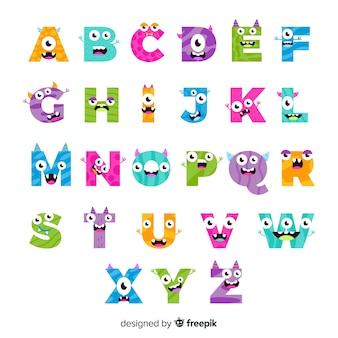 Alfabeto mostro colorato halloween