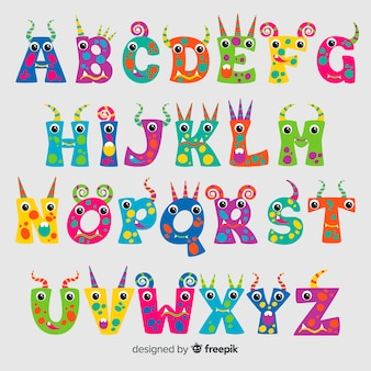 Alfabeto mostro di halloween carino