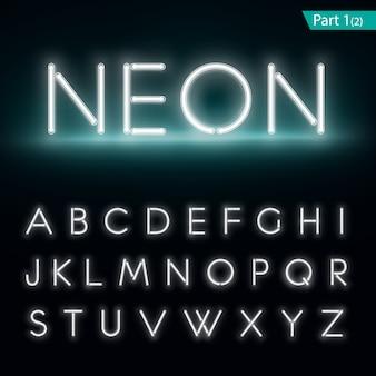 Alfabeto neon carattere incandescente.