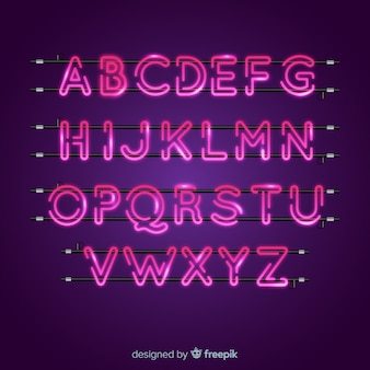 Alfabeto neon rosa