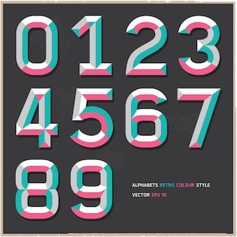 Alfabeto numeri stile vintage colore