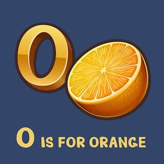 Alfabeto per bambini lettera o e arancio