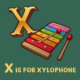 Alfabeto per bambini lettera xe xilofono