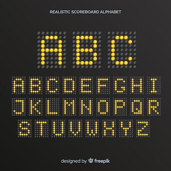 Alfabeto realistico del tabellone segnapunti
