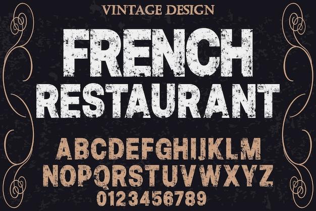Alfabeto ristorante francese
