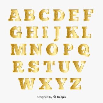 Alfabeto scintillante d'oro di natale