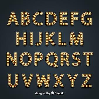 Alfabeto segno luminoso in stile vintage