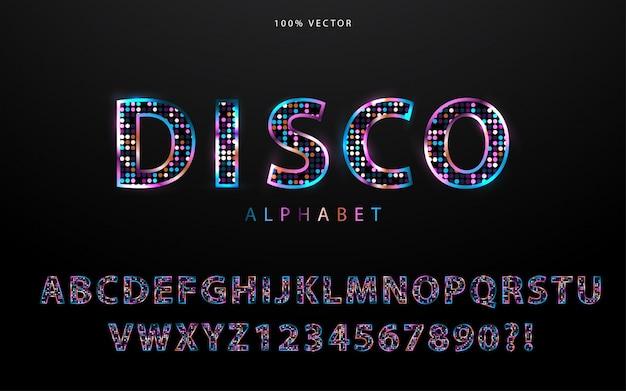 Alfabeto stile discoteca luce