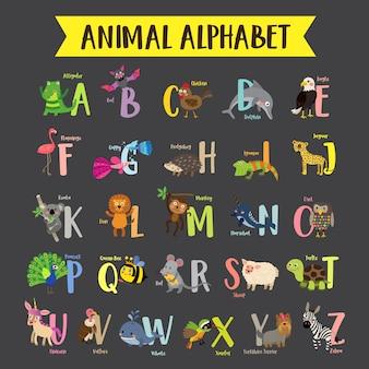 Alfabeto variopinto dello zoo az dei bambini
