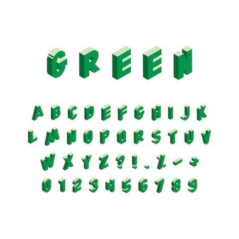 Alfabeto verde isometrico su sfondo bianco