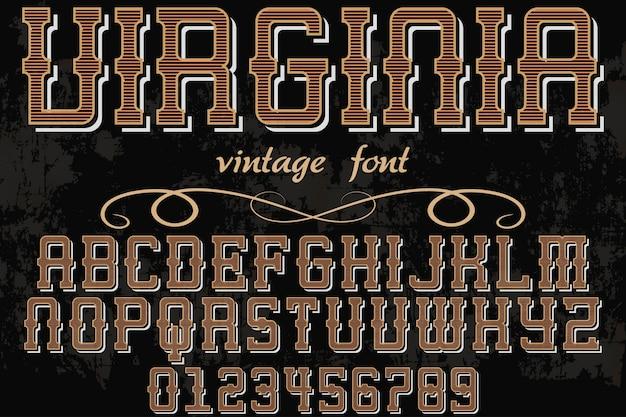 Alfabeto vintage carattere design virginia