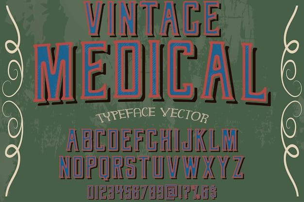 Alfabeto vintage grafica stile medico