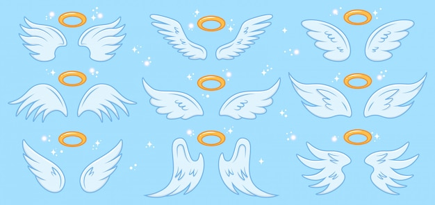 Ali d'angelo. ala e nimbus di angeli del fumetto, segno santo di angelo alato, icone eleganti dell'illustrazione delle ali di angelo di paradiso messe. angelo, ali con santo nimbo, ala simbolo