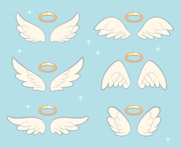 Ali d'angelo volanti con nimbo d'oro