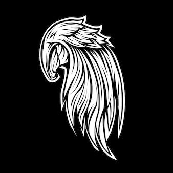 Ali di un angelo in bianco e nero