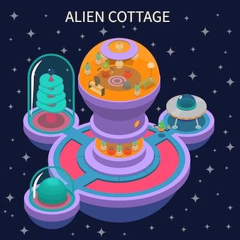 Alien cottage composizione isometrica