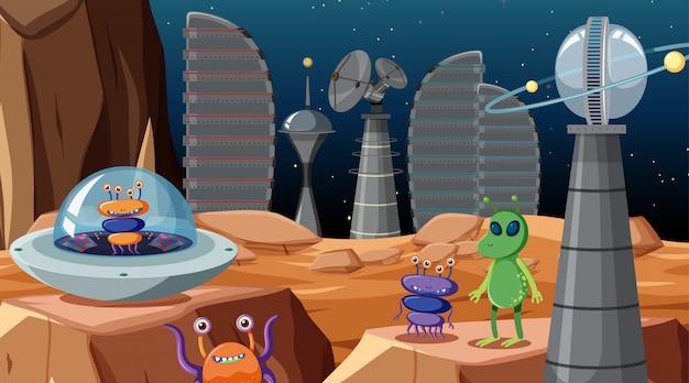 Alieni nella scena spaziale o sullo sfondo