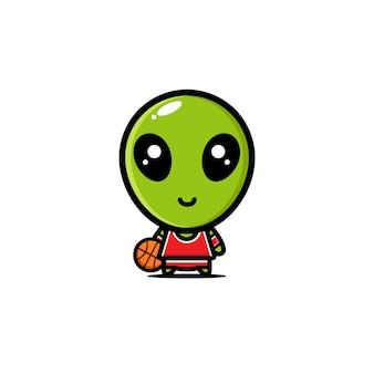 Alieno che indossa un personaggio di maglia da basket