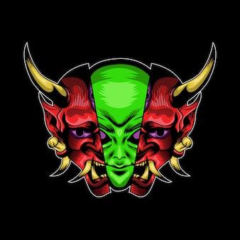 Alieno con l'illustrazione della maschera di hanya