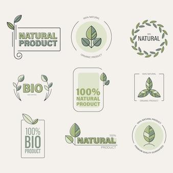 Alimenti biologici, collezione di etichette di prodotti ecologici.