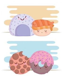 Alimento del fumetto del carattere del menu della ciambella e del biscotto del rotolo di riso del sushi sveglio