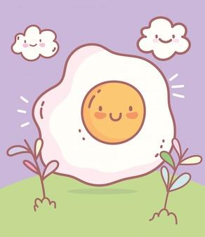 Alimento del fumetto del ristorante del menu del carattere dell'uovo fritto sveglio