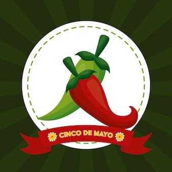 Alimento del peperoncino, illustrazione di cinco de mayo, messico