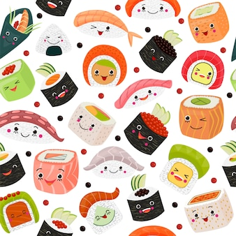 Alimento giapponese del fumetto dei sushi, illustrazione. sashimi di salmone sveglio con riso, frutti di mare a fondo bianco. cucina con alghe