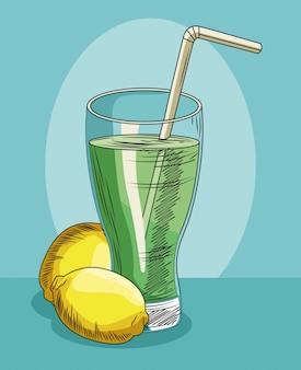 Alimento sano della frutta fresca di vetro e del limone della limonata